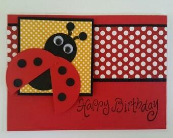 Lady Bug Birthday Card Birthday Greeting Card Birthday Card for Girl Happy Birthday Card for Granddaughter