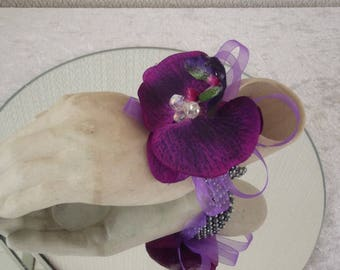 Wedding.Prom.mother of the bride.Wrist corsage .Purple orchid
