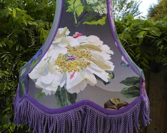 Standard lampshade, Alexandria lapis fabric in amethyst, scollop edge