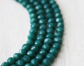 3x4mm Full Strand Forrest Green Glass Beads Rondelle Jewelry Beads Sparkling Glass Lead Free AB059C