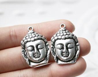 Set of 4, Silver Buddha Heads, Buddha Head Charm, Silver Buddha Charm, Small Metal Buddha, Metal Buddha Charm, Buddha Charm, Buddha Pendant,