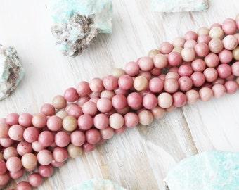 Rhodonite Beads, 8mm round, Full Stand, Light Pink Beads, Natural Gemstone,