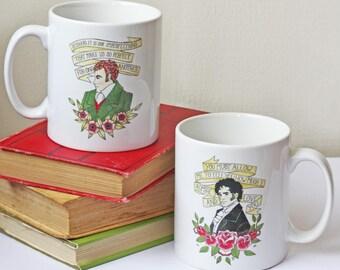 Mug - Jane Austen Hero Illustration Mug - Mr Darcy, Mr Knightley  - Pride and Prejudice, Emma Quotations - Book Lover Gift - Tattoo Vintage