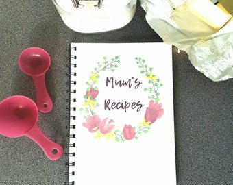 Personalised Recipe Notebook, ideal cooks gift, recipe binder, foodie gift A5