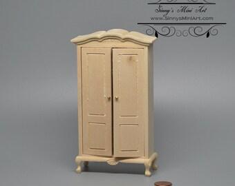 1:12 Dollhouse Miniature Wardrobe, Unfinished Miniature Furniture AZ CL08691