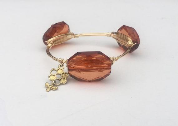 Clearance Sale, Amber Bangle, Rust bangle Bracelet, Wire wrapped bangle, handmade bangle, November birthstone, three stone bangle