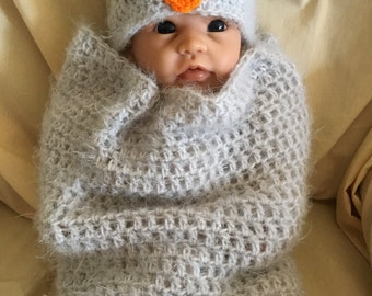 Crochet Baby Owl Cocoon - Photo Prop