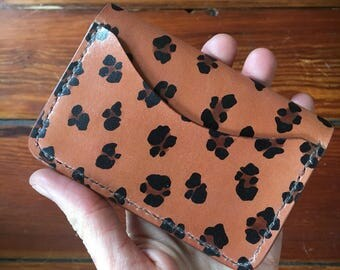 SALE!! Ladies Leather Wallet // Leopard Card Holder // Animal Print // Veg Tan Leather