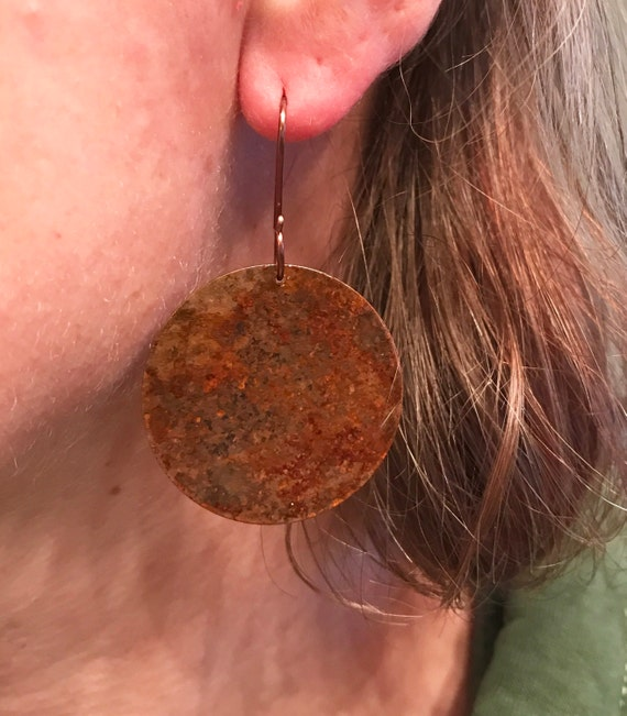 Rustic copper patina circle earrings