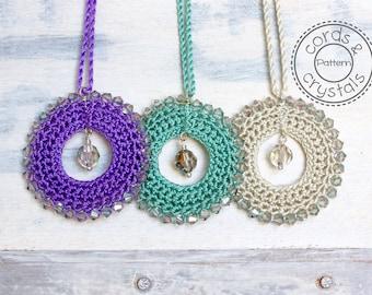 Crochet Pendant Pattern with Swarovski Crystals