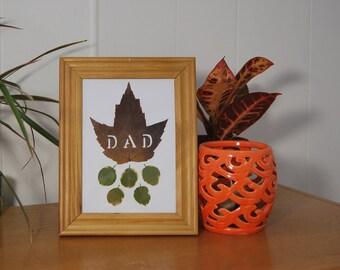 "Leaf Art ""DAD"", Fall Maple Leaf, Framed Nature Wall Decor, Pressed Leaves"