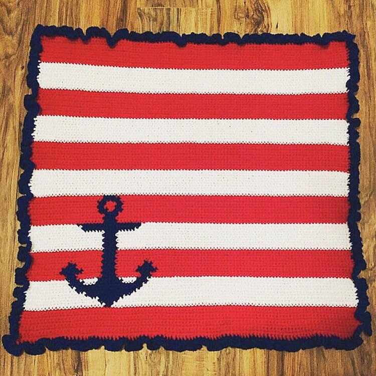 Pdf Pattern Crochet Or Knit Nautical Anchor Baby Blanket