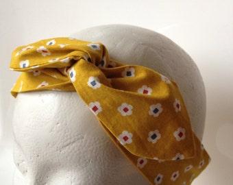 Mustard yellow Japanese fabric flower hair headband