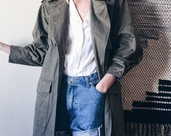 Vintage Olive Military Trench by Together