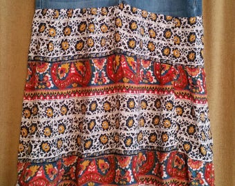 Vintage Ladies Skirt Homemade with Repurposed Jeans/Ladies Size 6/Hippie/Boho Skirt/Vintage 1970s Style Hippie Skirt/Handmade One of a Kind