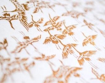 Handmade origami paper - Golden cranes on white