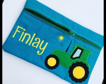 Pencil case, Pencilcase for a boy, Tractor theme, personalised pencil-case, personalized customised Pencil pouch, Any Theme, Gift for a Boy