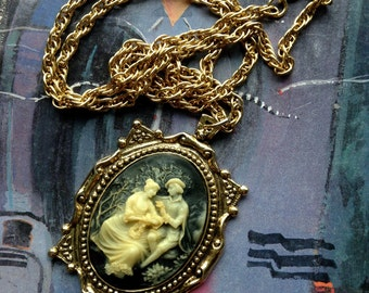 Vintage 1970s Incoloy Cameo Pendant