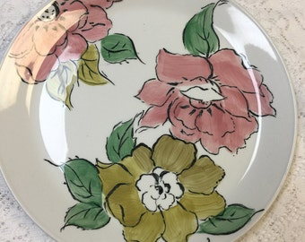 Johnson Brothers Plate Carmel. Rare Johnson Brothers Plate. Vintage Dinner Plate Floral. Mid Century Plate Pink. Floral Plate