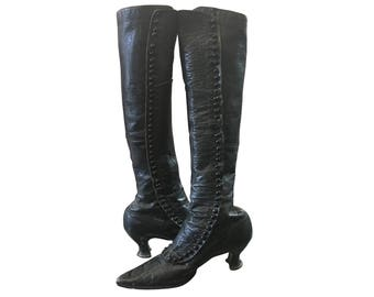 Victorian Tall Leather Button up Boots