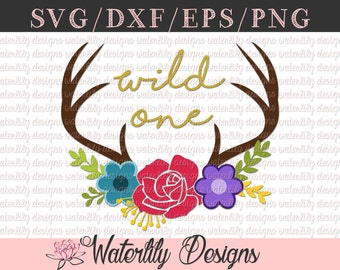 Wild One SVG/DXF File / Instant Download / Vector Clipart / Cut File / Iron on / Sublimation / Baby Outfit / Floral Antlers / Deer