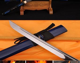 HandmadeJapanese Dragon V Snake KATANA Sword 1060 high carbon steel full tang blade sharp