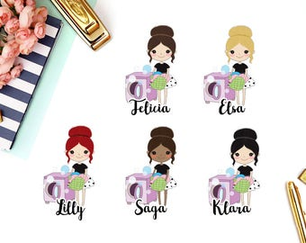 Laundry, Washing Machine | Girl (matte planner stickers, perfect for planners)