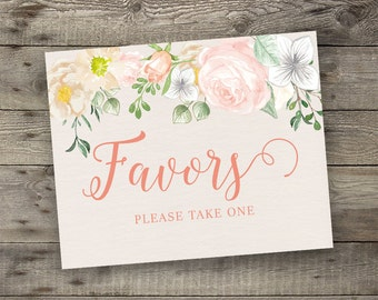Floral Wedding Favors Sign Printable Boho Chic Attendance Gifts Sign Bohemian Wedding Greeting Digital File Modern Typography