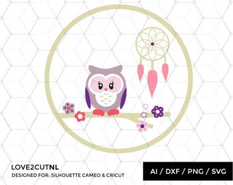 Owl with dreamcatcher svg file design illustration clipart silhouette cutting file cricut