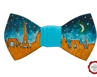 Engraved and painted wooden bow tie