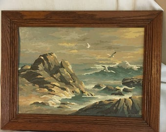 Vintage Seascape Paint by Number Painting, Vintage Ocean Painting, Beach, Framed Sea Painting, Retro Kitsch Art, Beach Decor, Hipster Art