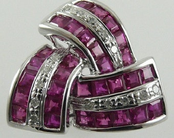 Ruby 2.60ct Red Ring 14k White Gold with Diamonds 0.09 ct