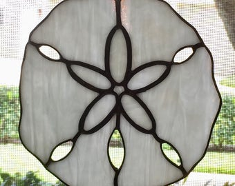 Stained Glass Sand Dollar Suncatcher Shell Beach Home Decor