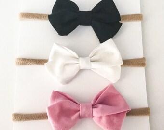 Mini sailor bows,set of 3,mini baby sailor bow,sailor bow headband,nylon headbands,basic sailor bow set,baby shower gift,girl bows,baby bows