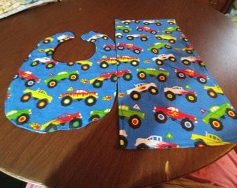 Trucks bib and burp cloth set.