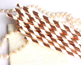 Rose Gold Striped Paper Straws, Metallic Rose Gold and White Paper Drinking Straws - Set of 25