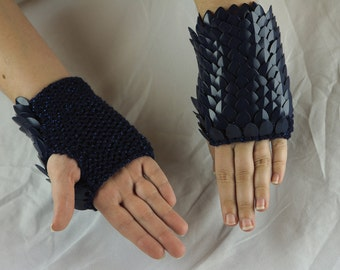 Knit Scale Mail Fingerless Gloves