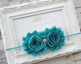 Teal Baby Headband, Baby Girl Headband, Newborn Headband, Flower Girl Headband, Baby Photo Prop, Toddler Headband, Infant Headband