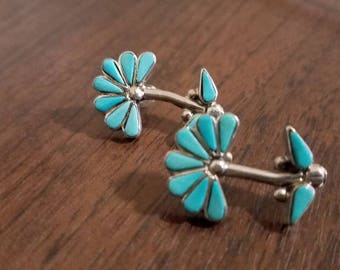 Vintage Sterling Silver Zuni Turquoise Flower Earrings