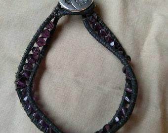 Purple Crystal Tree Of Life Wrap Bracelet