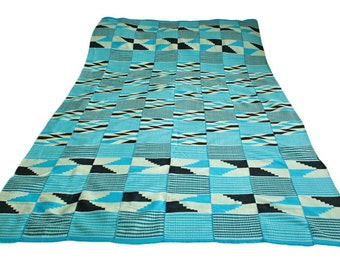 Kente Cloth, Authentic African Fabric, Handwoven Ghana Textile, Turquoise, Blue, Cream,Black,  Cotton. Great Gift Idea REDUCED TO CLEAR