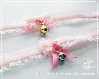 Pastel Pink Lacy Velvet Bell Collar Choker