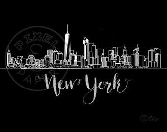 New York Skyline | New York Cityscape | New York Art Print | New York City | Digital Download | Black & White Skyline | Minimalist City Art