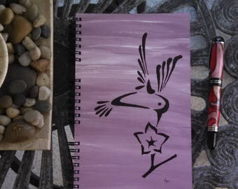 Hand Painted Spiral Journal; FREE SHIPPING; Wire Bound Blank Notebook; Writing Journal, Small Sketchbook, Unique Gift; Hummingbird Shape