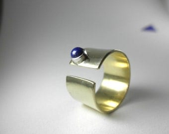 Lapis Lazuli on Wide Brass Band with Sterling Bezel, Size 5.5,  Lapis Ring, Minimal Ring, Modern Brass Ring