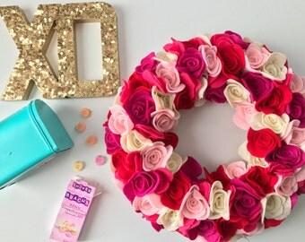 Pretty in pink wreath, valentines wreath, pink wreath, rose wreath, rose, pink rose, red rose