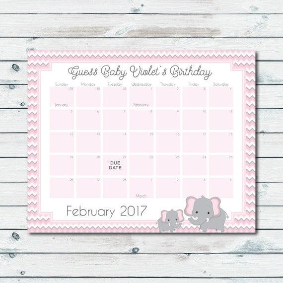 Bébé personnalisé prédiction calendrier imprimable rose et