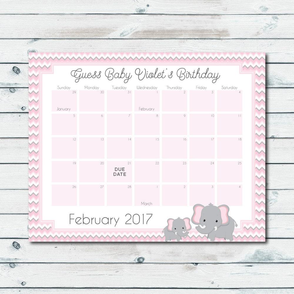 Célèbre Bébé personnalisé prédiction calendrier imprimable rose et ZZ85