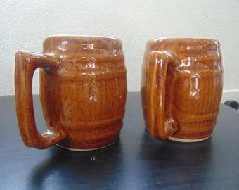 Vintage 1950's Stone wear Barrel mugs (Set of TWO)