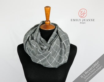 Reversible Extra Wide Infinity Scarf - Double Loop Fashion Scarf / Nursing Scarf in Gray & White Windowpane Print with Smooth Gray Reverse